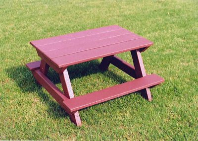 Red Picnic Table Sprayed anad Protected With Line-X