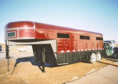 Red Horse Trailer And Frame Sprayed With Line-X Polyurethane Protective Coatings