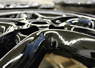 Truck Wheel Sprayed With Line-X Polyurethane Protective Coatings